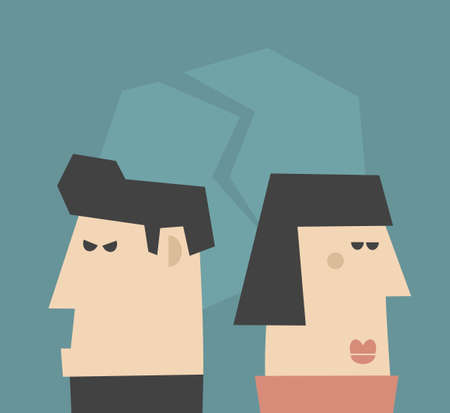 relationship problems: Young couple  having relationship problems. Vector illustration,