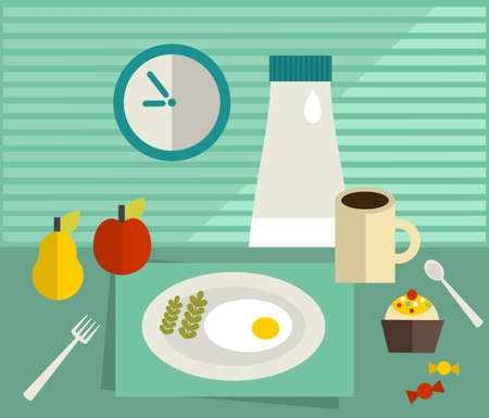 Food on the table. Vector illustration. illustration