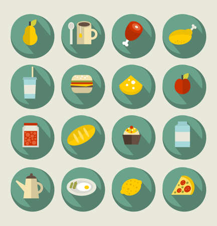 Food icon set on the banners. Vector illustration. illustration