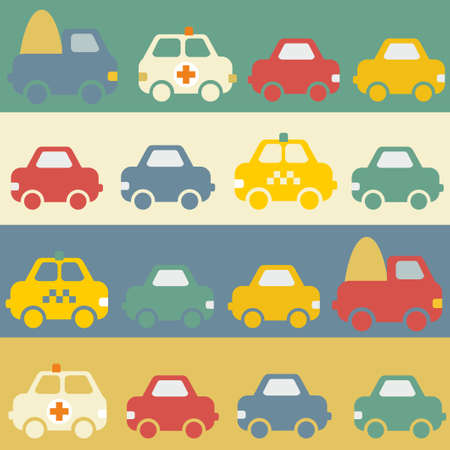Seamless pattern with cartoon cars. photo