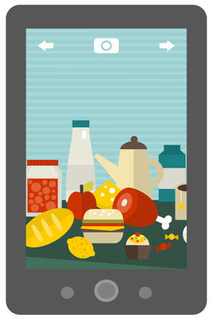 A lot of different food on the table - mobile photo. Vector illustration. illustration