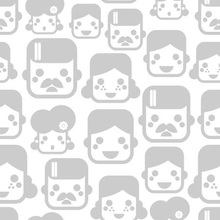 Seamless pattern with happy family faces. Vector illustration with mother? father and children. illustration