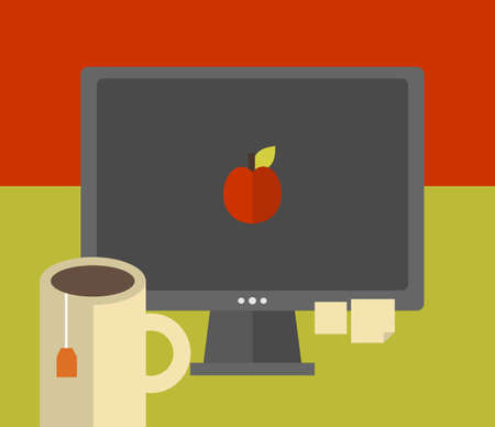 apple computer: Computer screen on the table. Vector illustration of the work place.