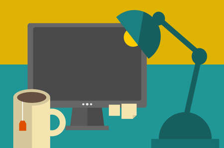 Computer screen on the table. Vector illustration of the work place. illustration