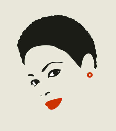 Black hair woman. Vector illustration of young attractive girl with short hair. illustration