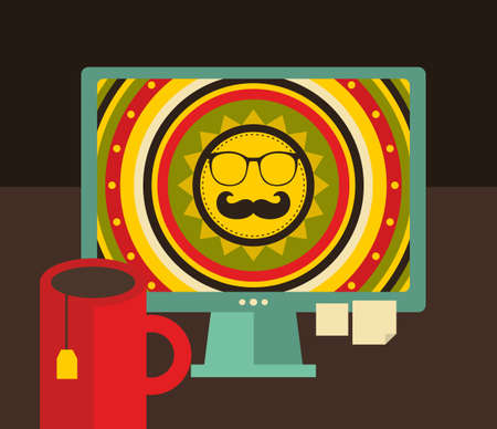 webdesigner: Computer screen i retro colors. Vector illustration of hipster workplace.