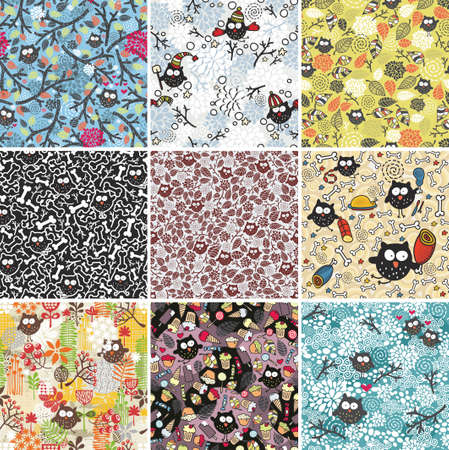 Big set of seamless patterns with cute owls and flowers. Vector floral backgrounds. photo
