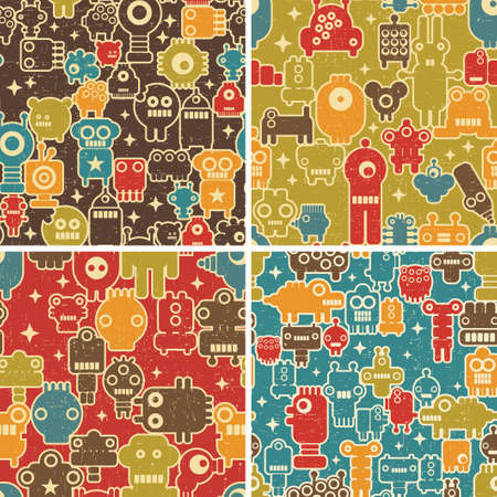 alien robot: Set of seamless patterns with robots, monsters and other creatures. Vector repeating backgrounds. Stock Photo