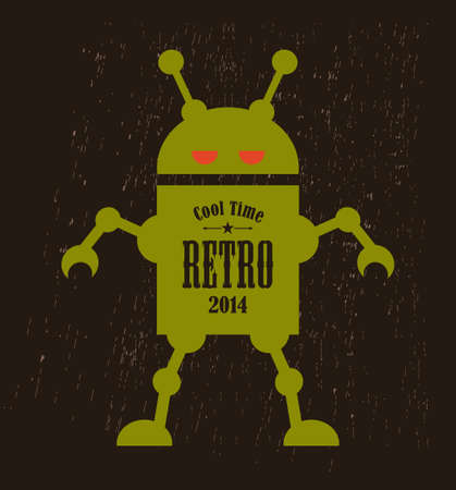 Vintage robot. Vector illustration of mechanic monster. illustration