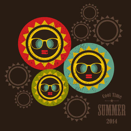 Summer cover bright yellow sun and black woman face. Vector colorful background. photo