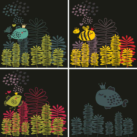 Set of colorful  patterns with flowers and animals. Vector illustrations. illustration