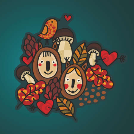 Autumn style nature background with children in costumes. Vector doodle illustration. illustration