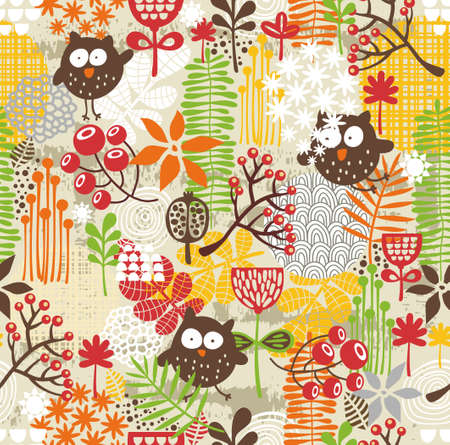 Beautiful seamless texture with owls. Vector background. photo