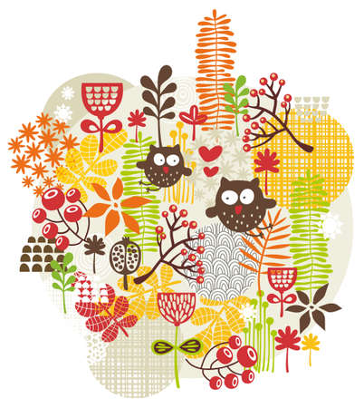 Beautiful  texture with cute owls. Vector background. photo