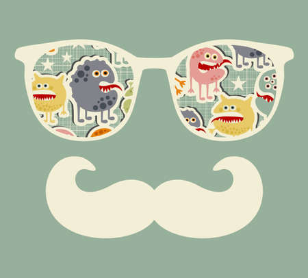 Retro sunglasses with reflection for hipster. Vector illustration of accessory - eyeglasses isolated. Best print for your t-shirt. Imagens