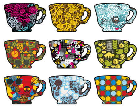 camomile tea: Set of cute tea cups with patterns. Vector illustration. Stock Photo