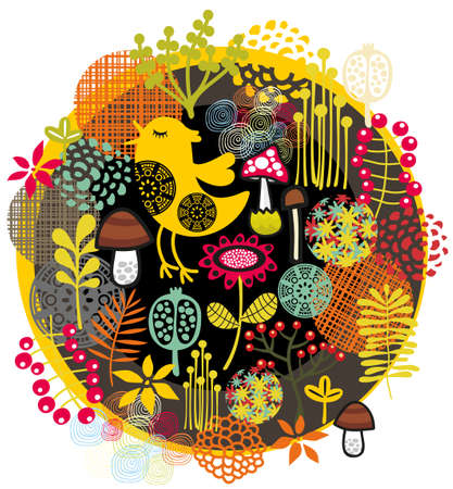 Birds, flowers and other nature. Vector pattern illustration. illustration