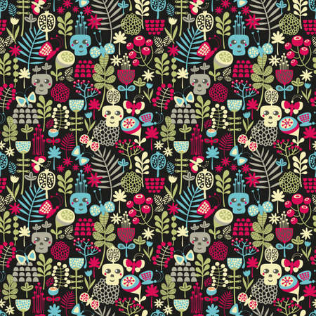 Cute skulls seamless pattern. Vector background with flowers. photo