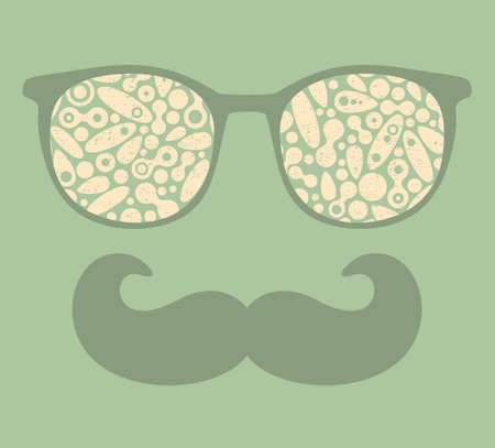 mustaches: Retro sunglasses with reflection for hipster.