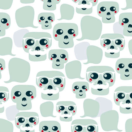 snob: Seamless pattern with funny skulls. Vector illustration.