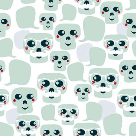 snob: Seamless pattern with funny skulls. Vector illustration.
