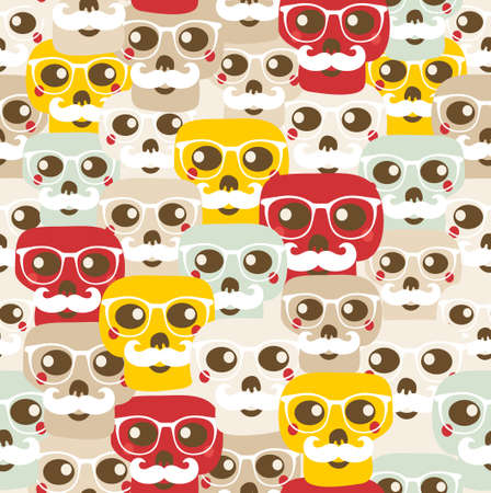 Seamless pattern with funny skulls. photo