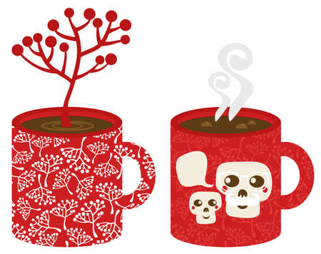 Two red cups. Vector illustration of hot Christmas. illustration
