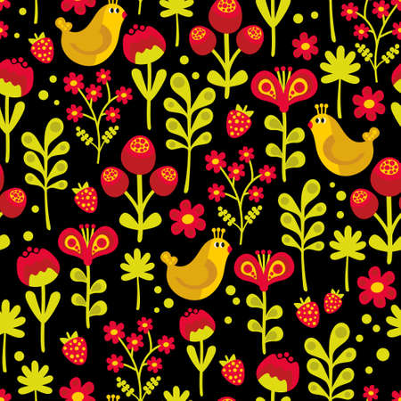 Beautiful seamless texture with cute birds and pretty flowers. Vector background. photo