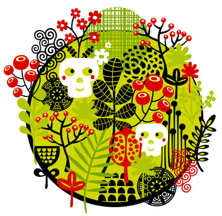 Skulls and flowers. Vector illustration. illustration