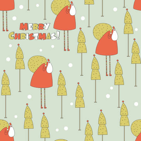 Santa in the forest Christmas seamless pattern. Vector illustration. illustration