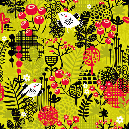 Seamless pattern with bird in the forest. Vector texture. photo