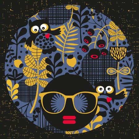 Black head woman with strange pattern on her hair. Vector illustration. illustration