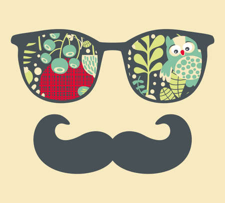 Retro sunglasses with reflection for hipster. Vector illustration of accessory - eyeglasses isolated. Best print for your t-shirt. Stock Photo