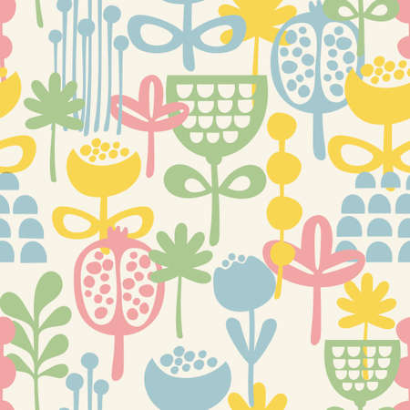 Seamless pattern with plants. Vector illustration. illustration