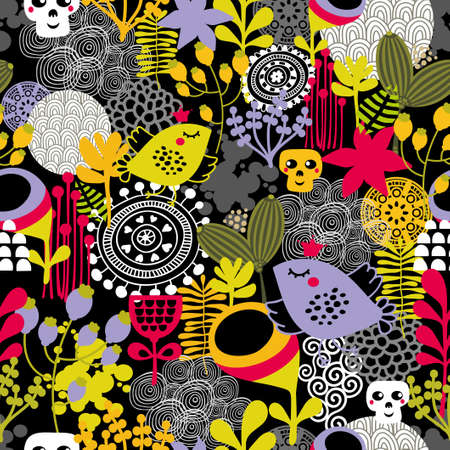 Good night seamless pattern. Vector illustration with birds and flowers. illustration