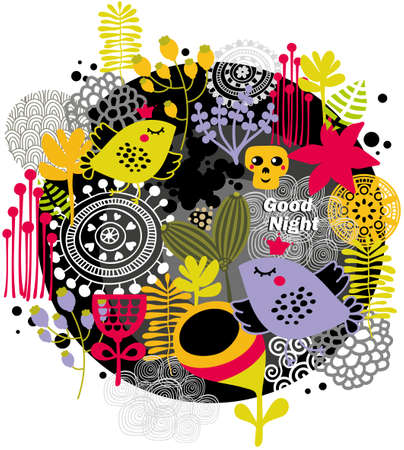 good humor: Good night. Vector illustration with birds and flowers.
