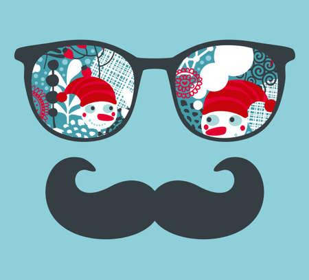 ヒップスターの反射とレトロなサングラス。アクセサリー - 分離した眼鏡のベクター イラストです。ベストは、あなたの t シャツの印刷します。