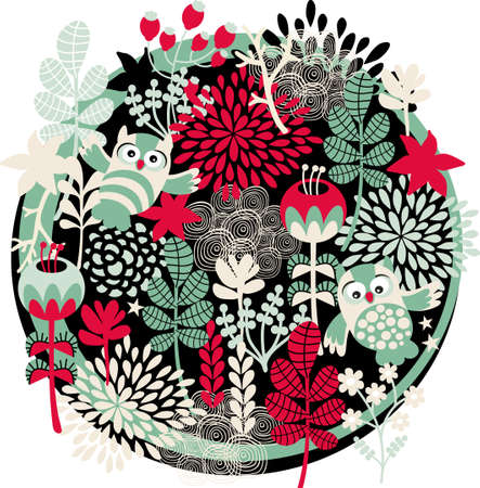 Owls, flowers and other nature. Vector illustration. illustration