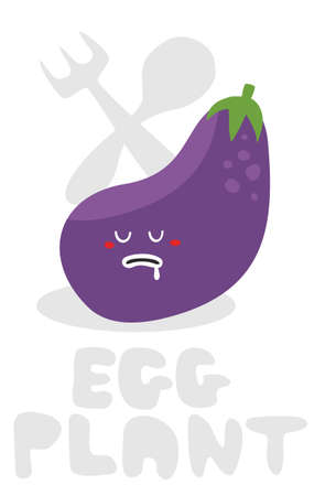greengrocer: Eggplant monster. Vector illustration.
