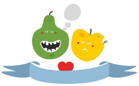 Freaky fruits and vegetables. Vector illustration. illustration