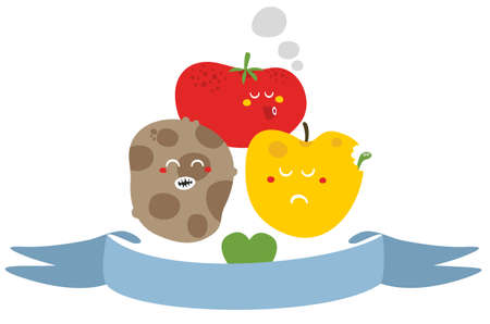 Freaky fruits and vegetables. Vector illustration. Stock Illustration - 26796268