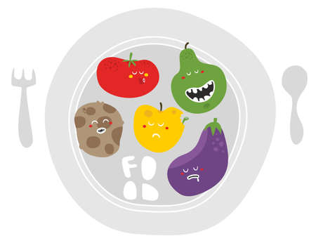 Crazy fruits and vegetables on the plate. Vector illustration. illustration