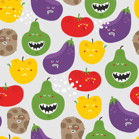 Crazy fruits and vegetables seamless pattern. Vector illustration. Stock Illustration - 26796270