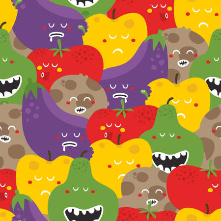 Crazy fruits and vegetables seamless pattern. Vector illustration. illustration