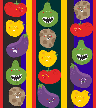 funny fruit: Crazy fruits and vegetables seamless pattern. Vector illustration. Stock Photo