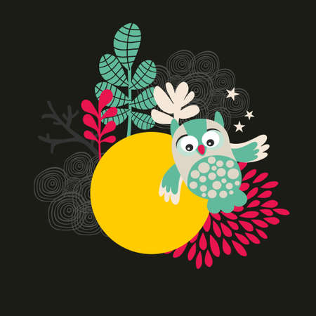 Owl with the moon banner. Vector illustration. illustration