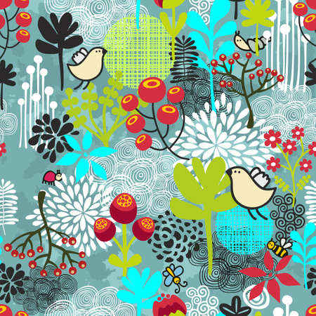 Beautiful seamless pattern with cute birds and pretty flowers. Vector background. photo