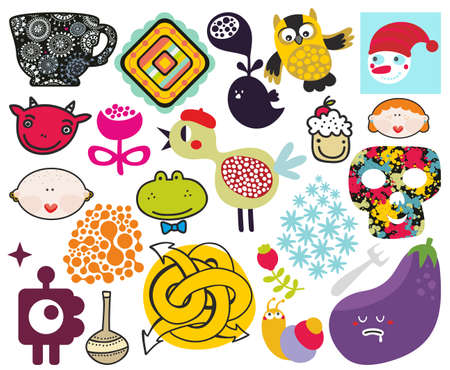 strawberry frog: Mix of different vector images and icons.