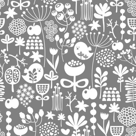 Beautiful seamless texture with birds and flowers. Vector background. photo