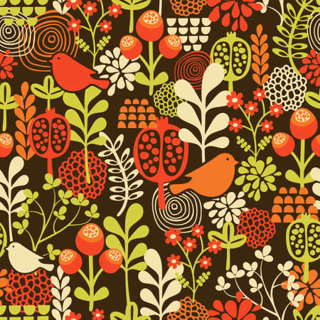 whimsical: Birds and flowers seamless pattern. Vector texture.